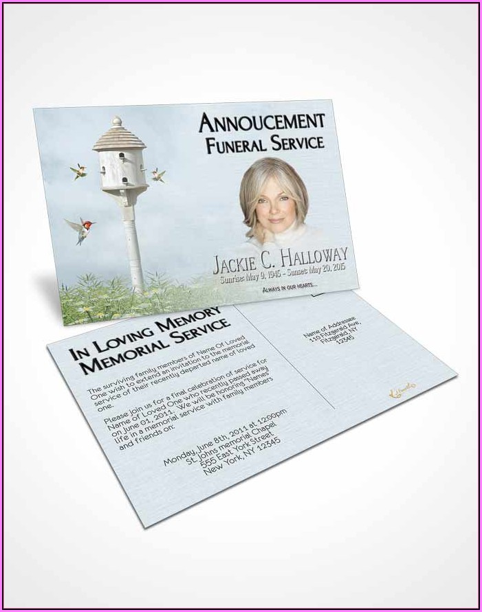 Funeral Announcement Cards Templates
