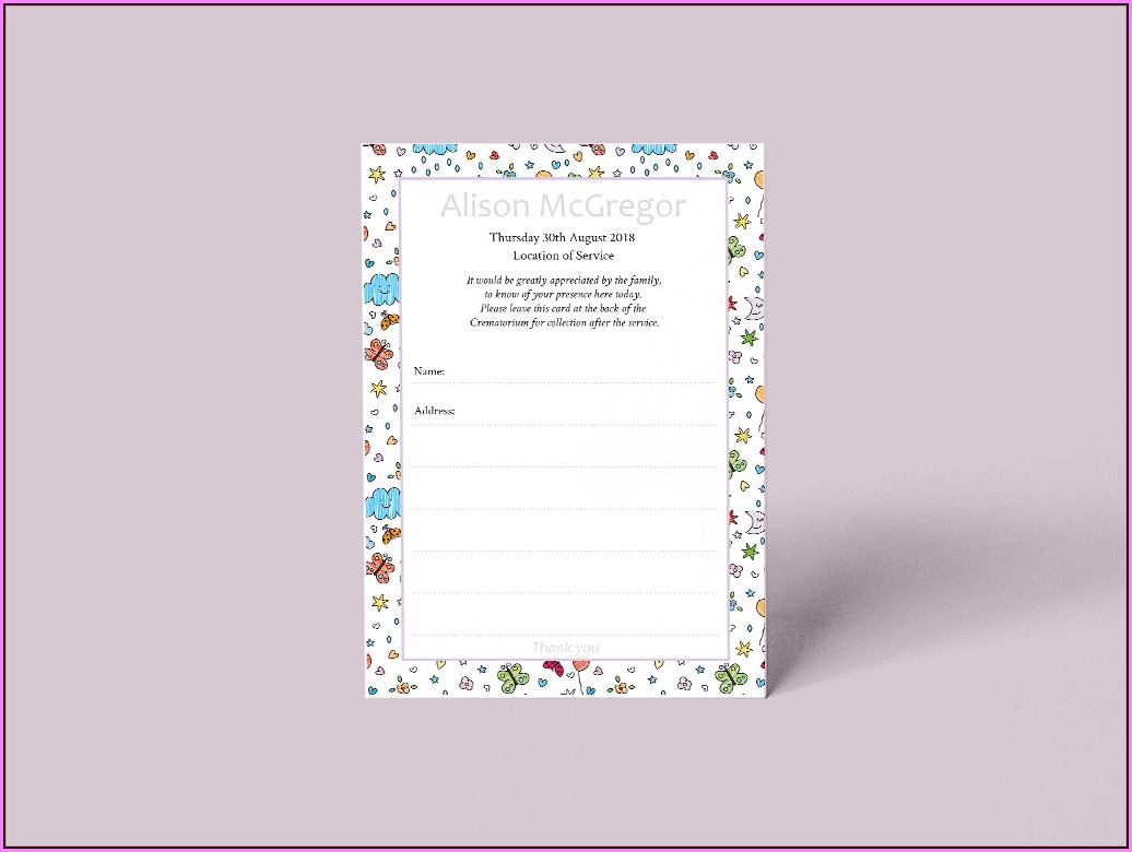 Funeral Attendance Cards Templates
