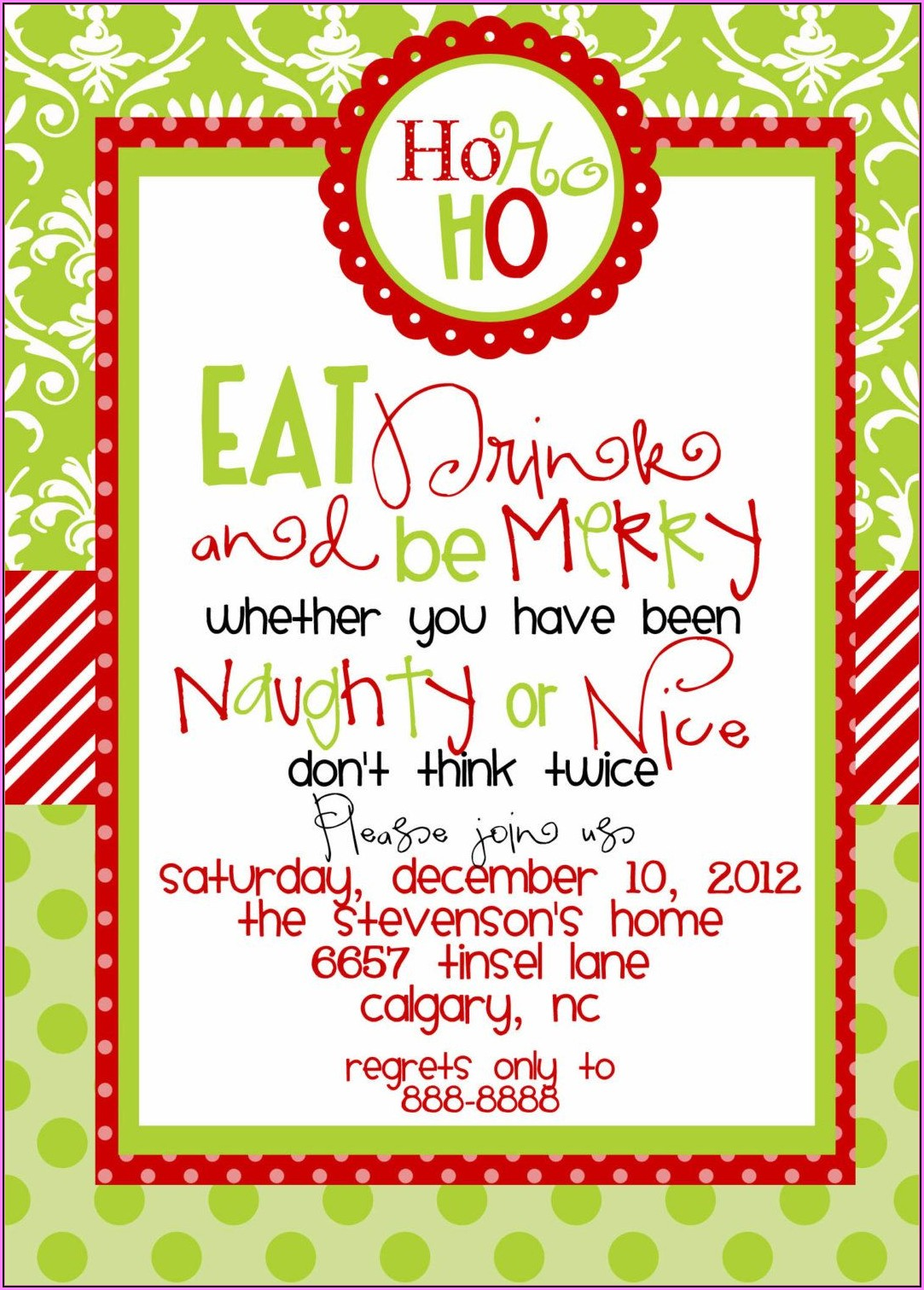 Funny Christmas Dinner Invitation Wording