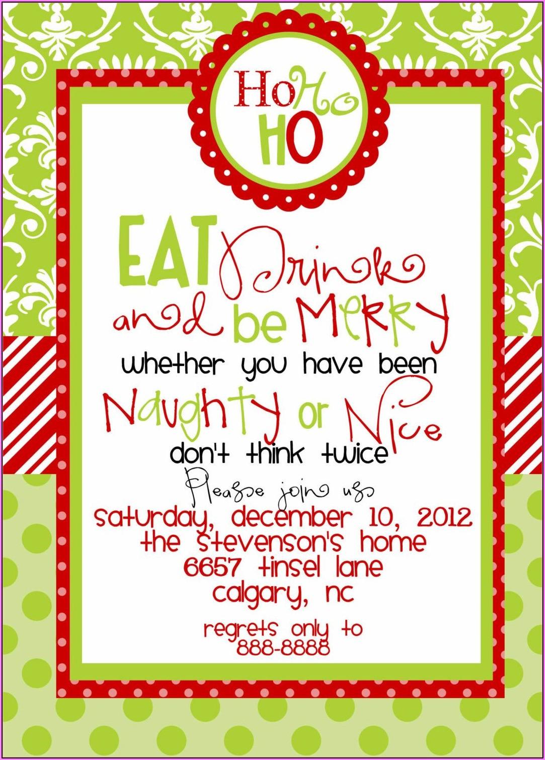 Funny Christmas Dinner Invitation Wording