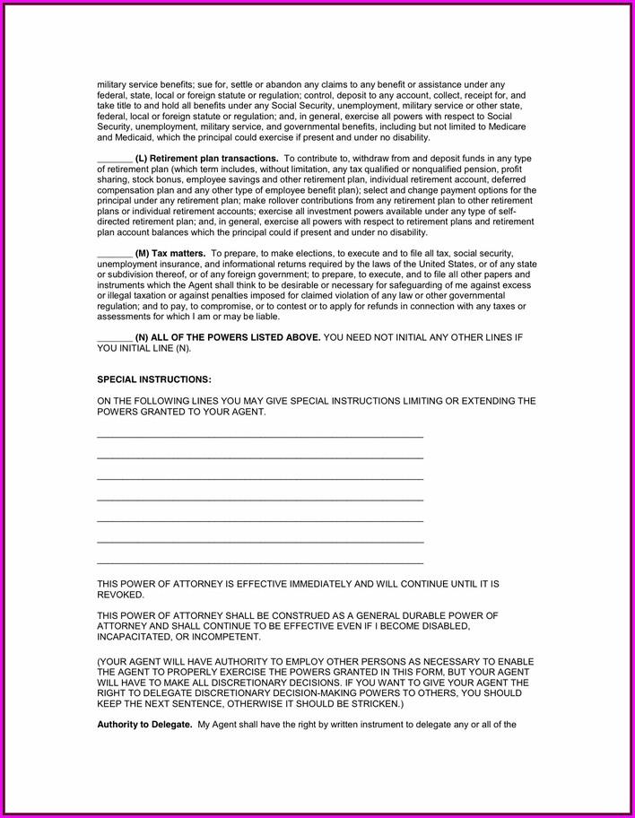 General Power Of Attorney Form Florida Pdf