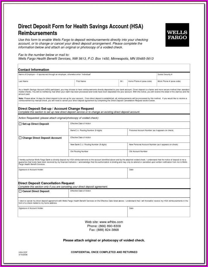 Generic Ach Direct Deposit Form