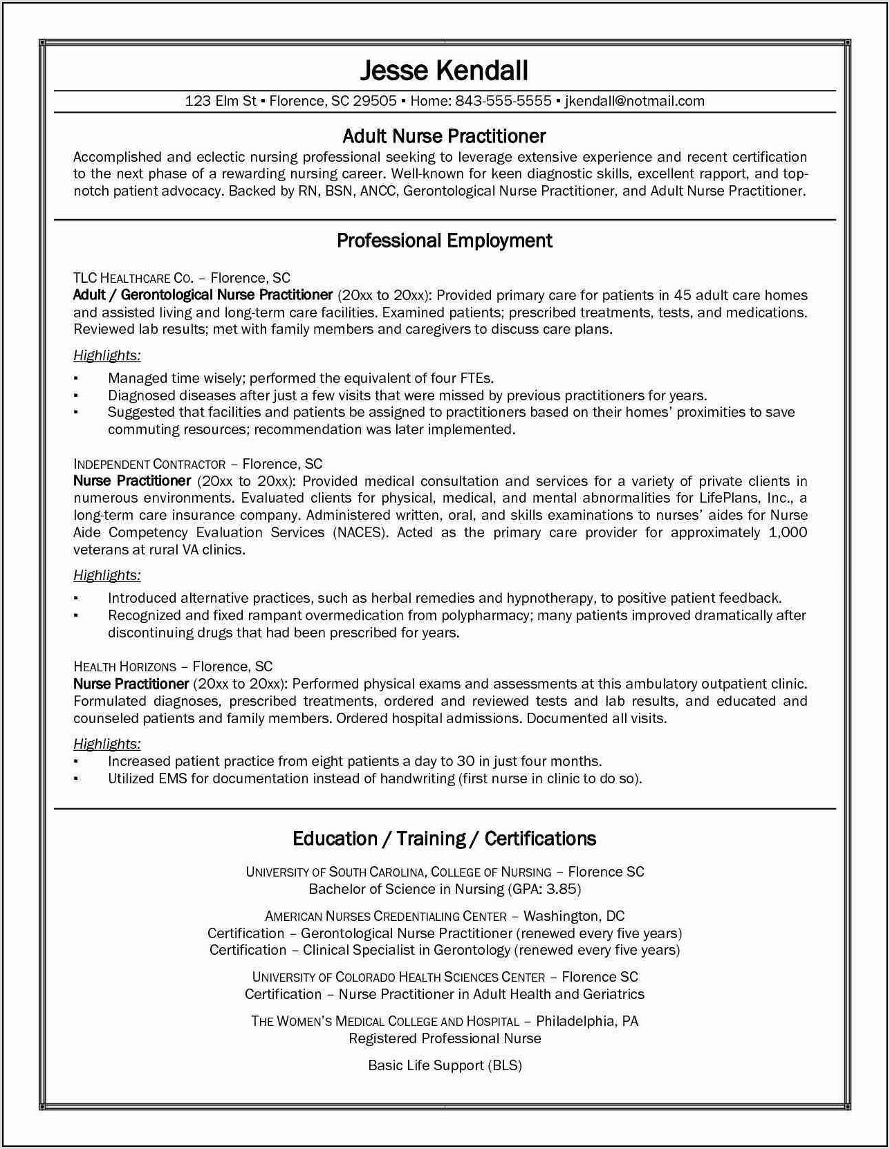 Good Resume For Registered Nurse