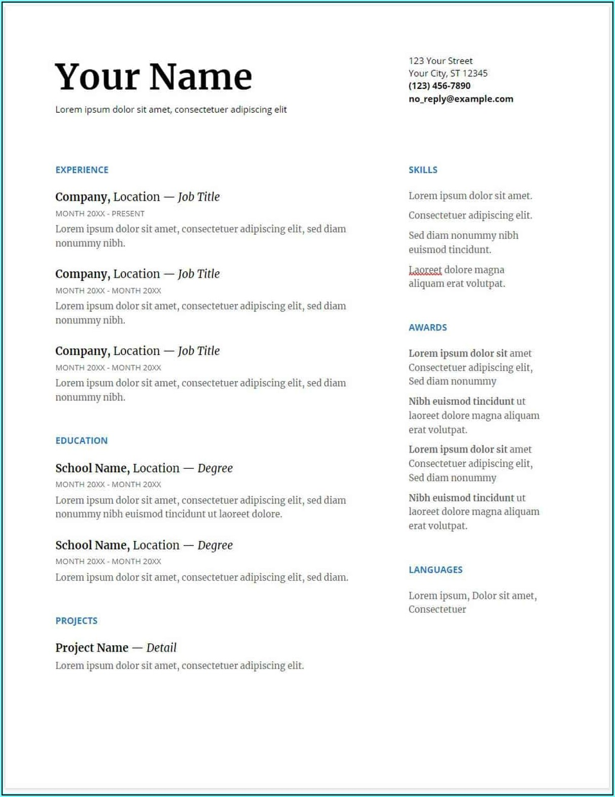 Google Resume Free Templates