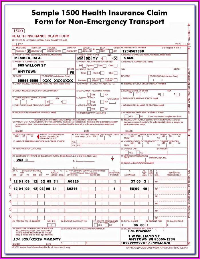 Hcfa 1500 Form Fillable Free
