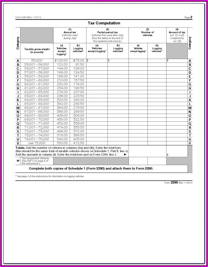 Highway Road Use Tax Form 2290