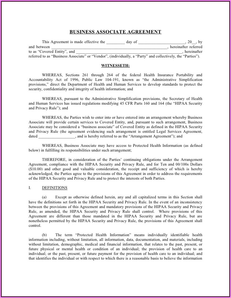 Hipaa Business Associate Agreement Template 2016