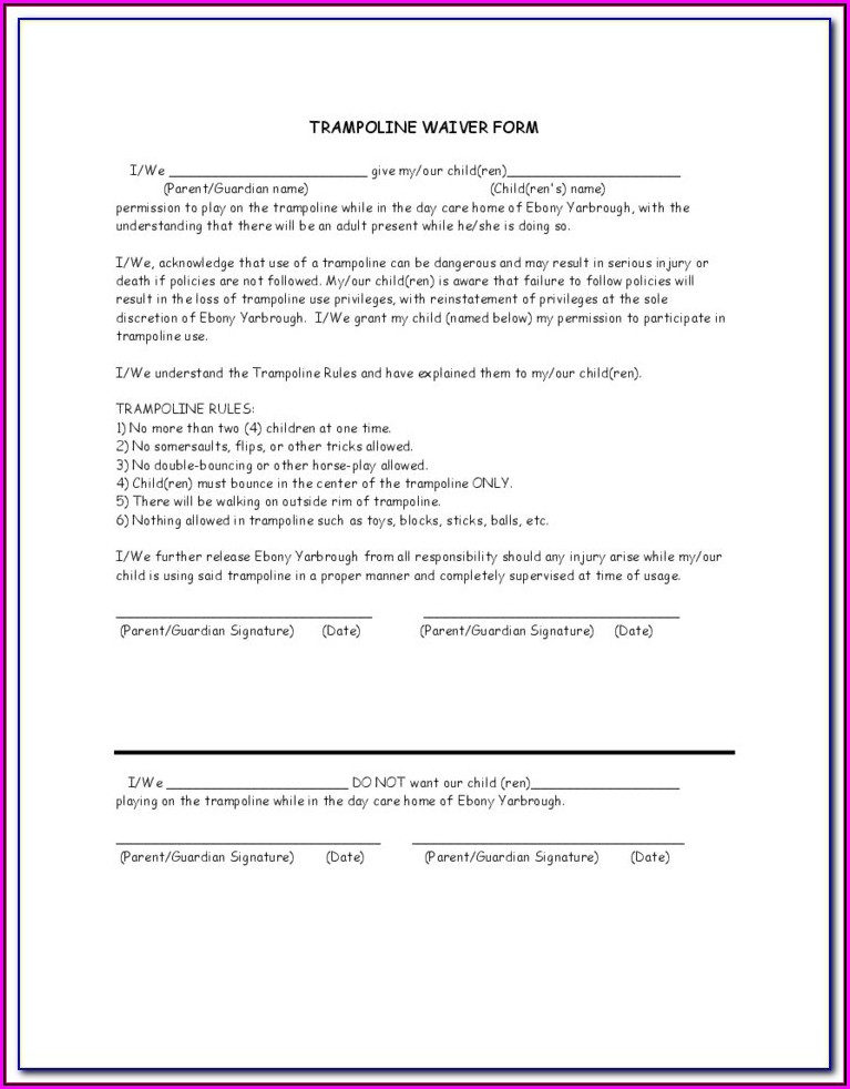 Home Trampoline Waiver Form