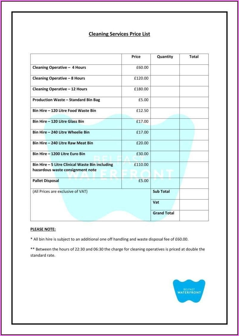House Cleaning Estimate Template