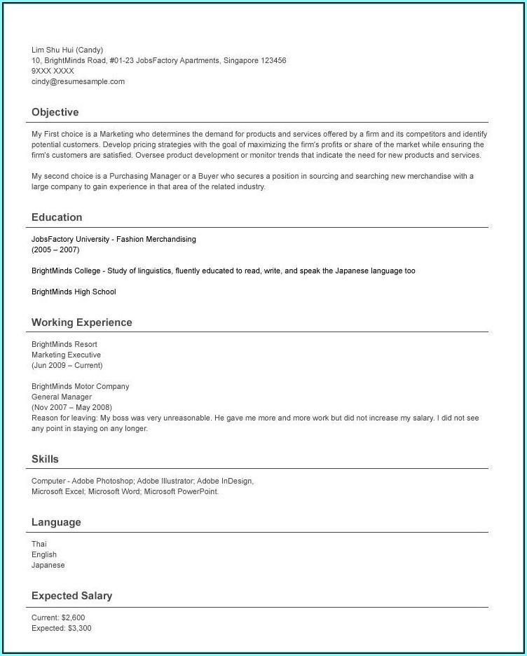 How To Write A Good Resume Singapore