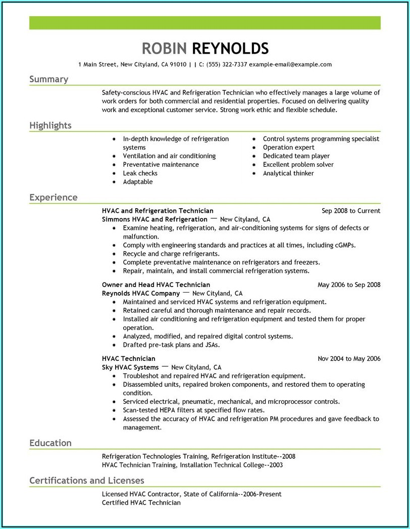 Hvac Resume Builder