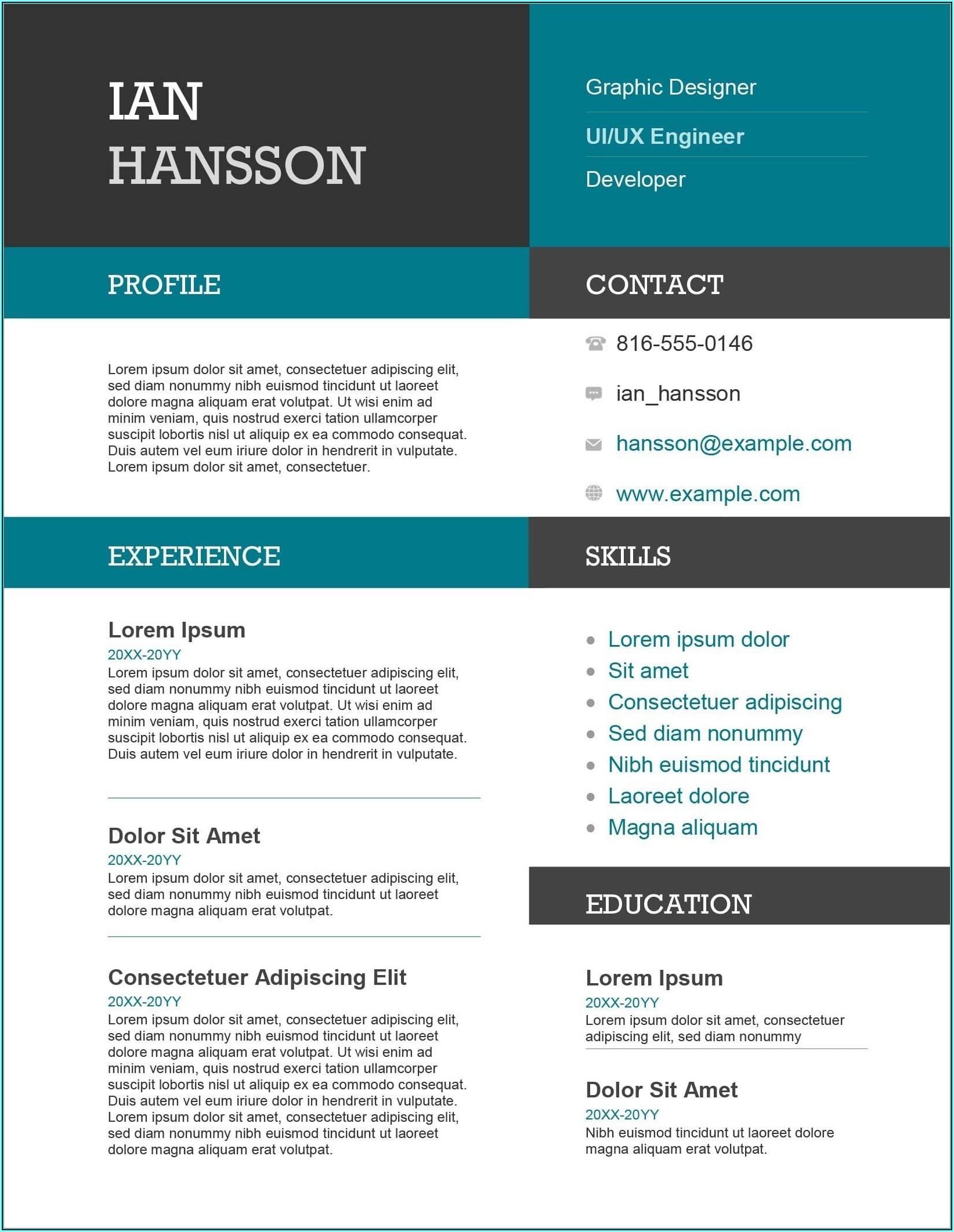 Impressive Resume Templates Free