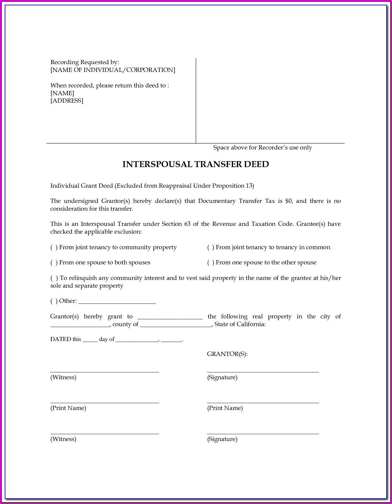 Interspousal Transfer Deed Form Texas