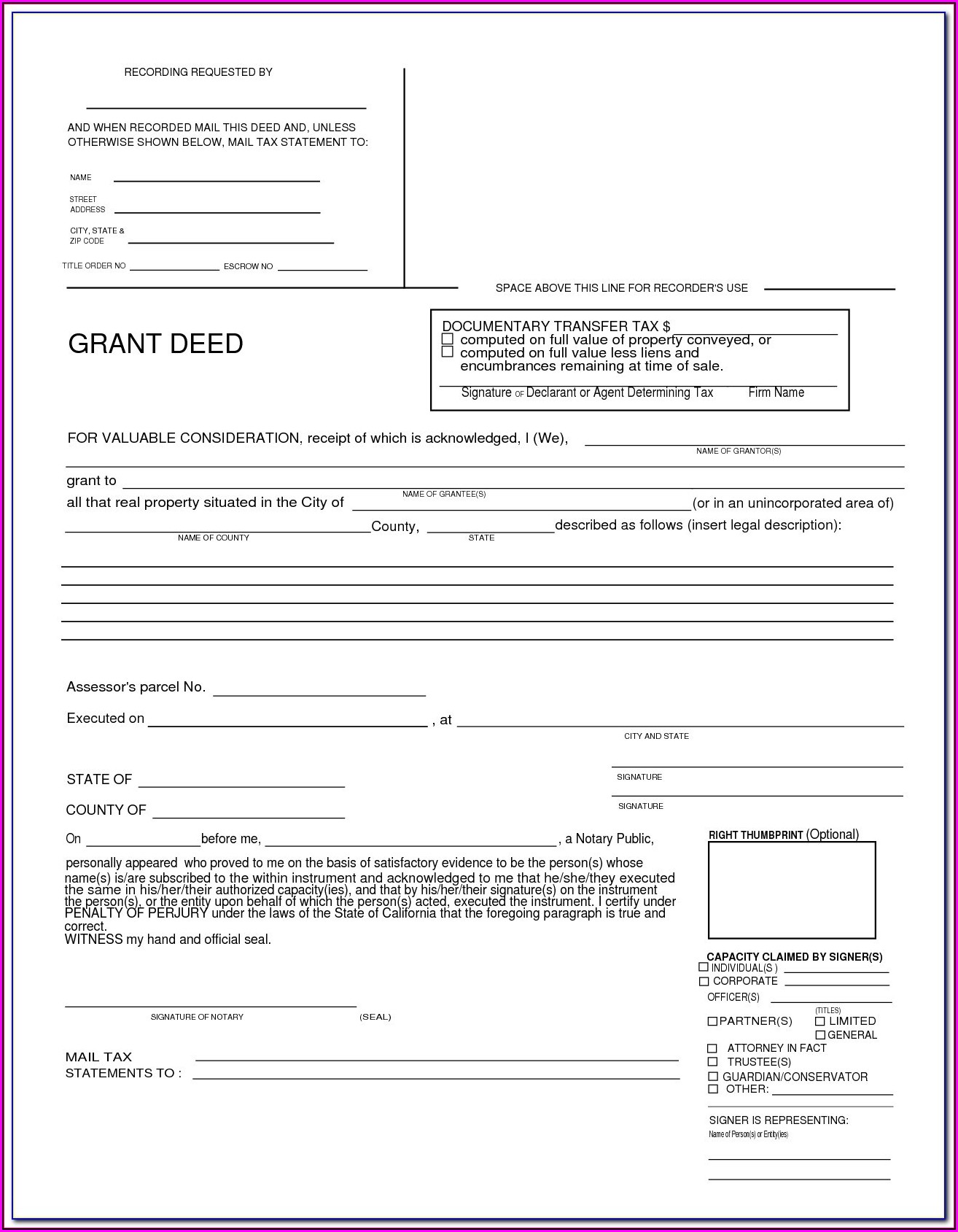 Interspousal Transfer Deed Form