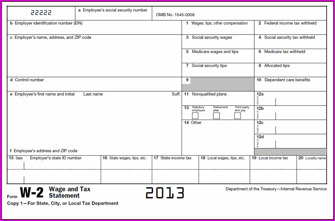 Irs Fillable W 2 Forms