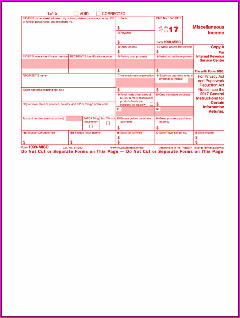 Irs Form 1099 Misc Printable
