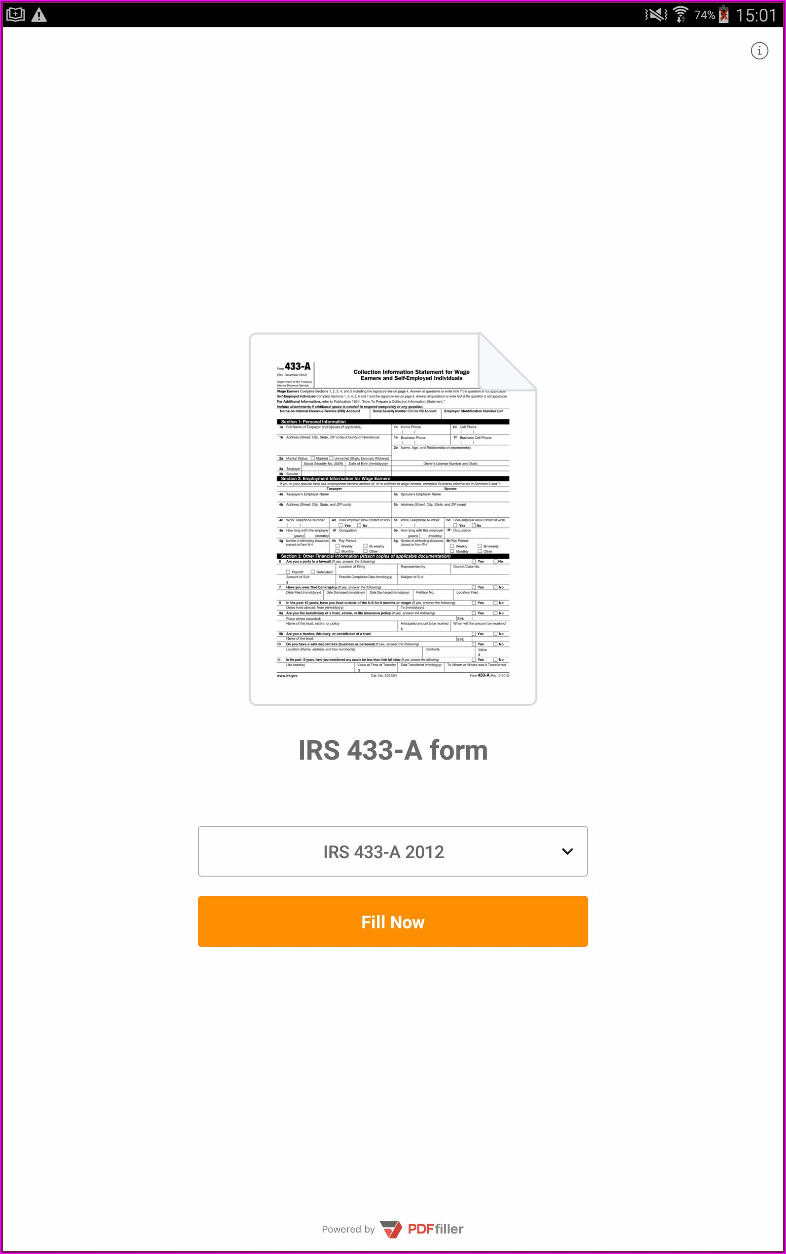 Irs Form 433 A Fillable
