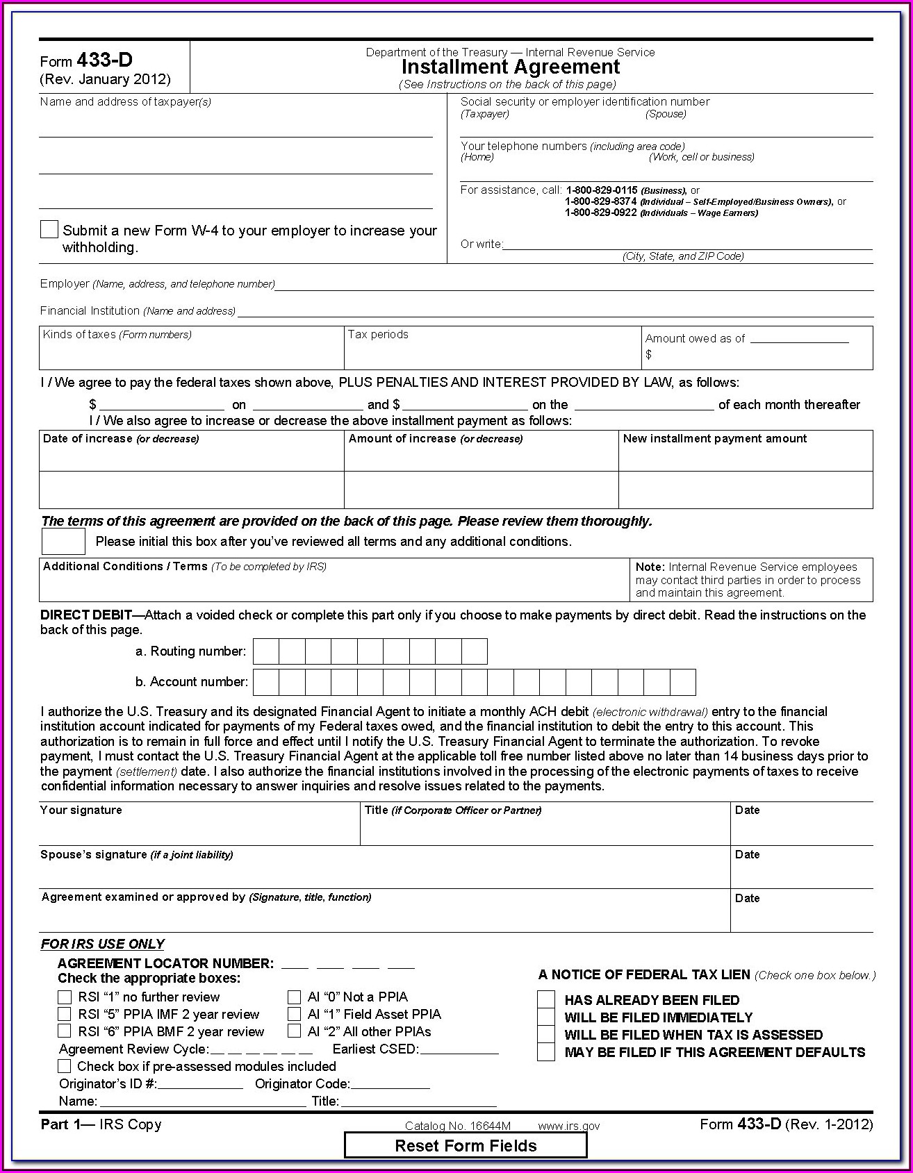 Irs Form 433 D Fillable