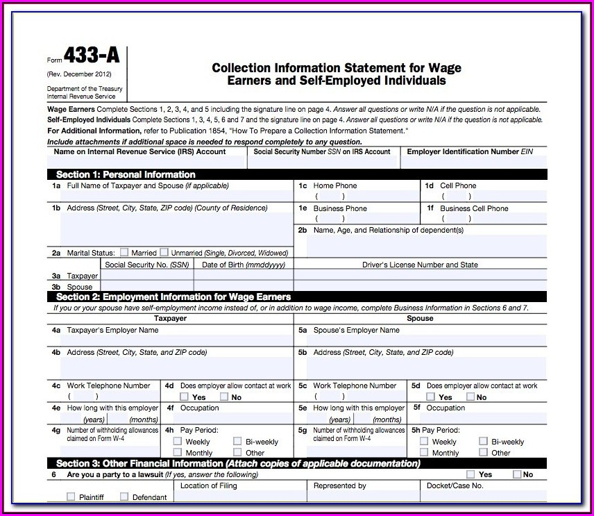 Irs Form 433 F Fillable
