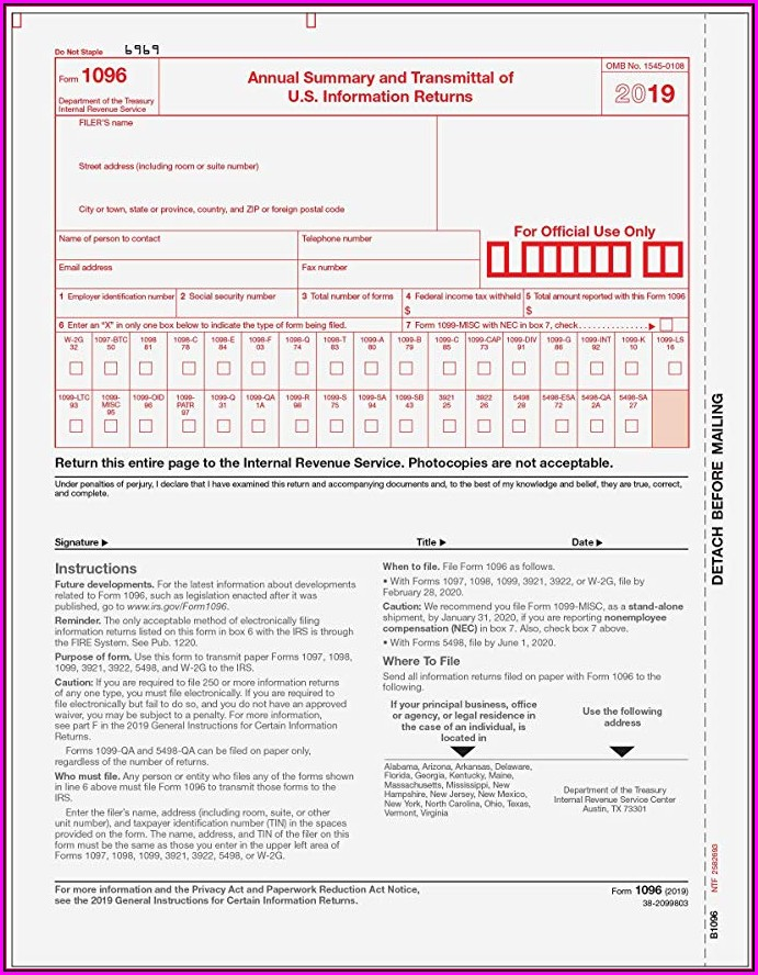 Irs Forms 1096