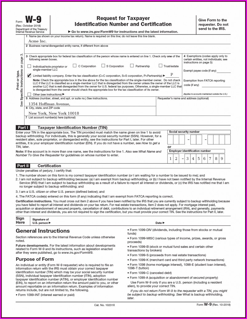 Irs.gov W 9 Form Fillable