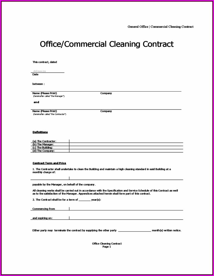 Janitorial Contract Sample