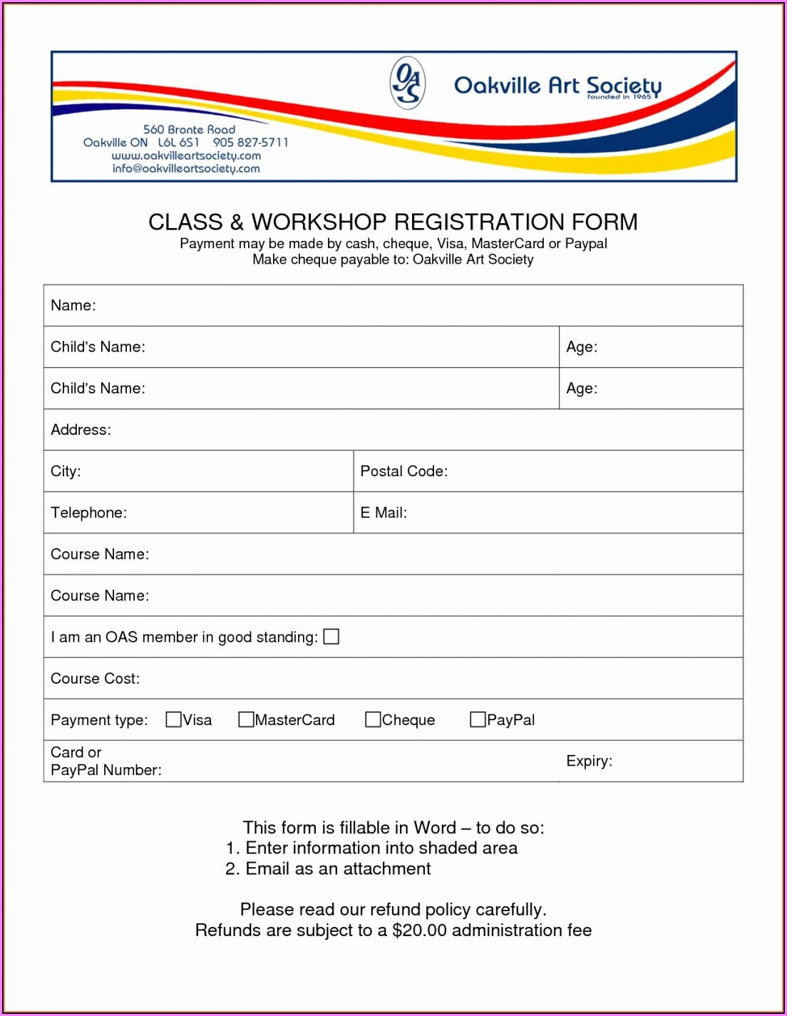 Job Application Form Template Word Download
