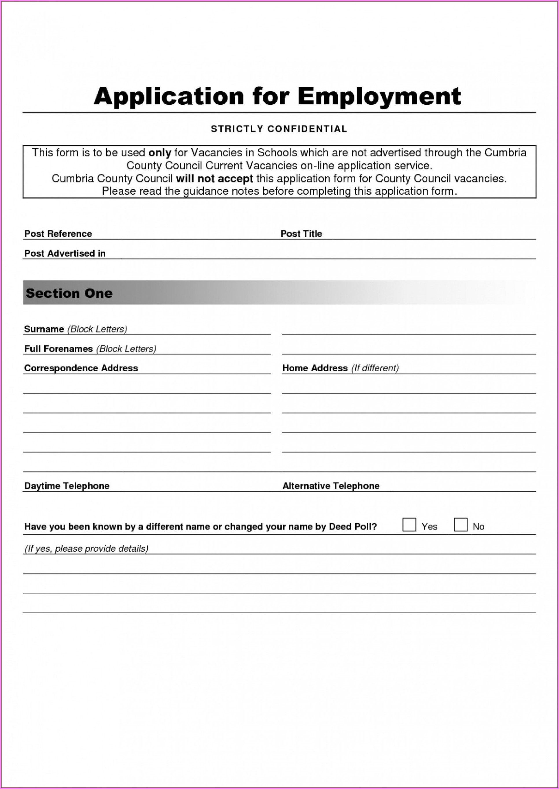 Job Application Form Template Word Uk