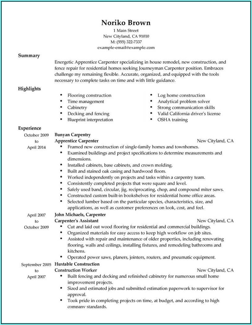 Journeyman Carpenter Resume Template