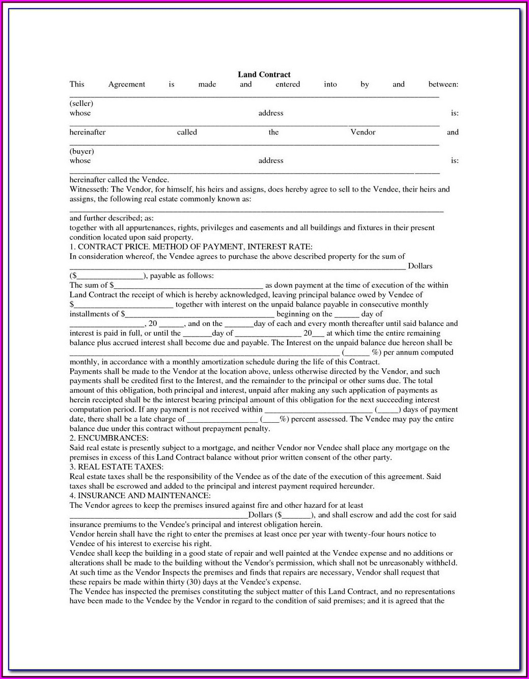 Land Contract Forms For Michigan