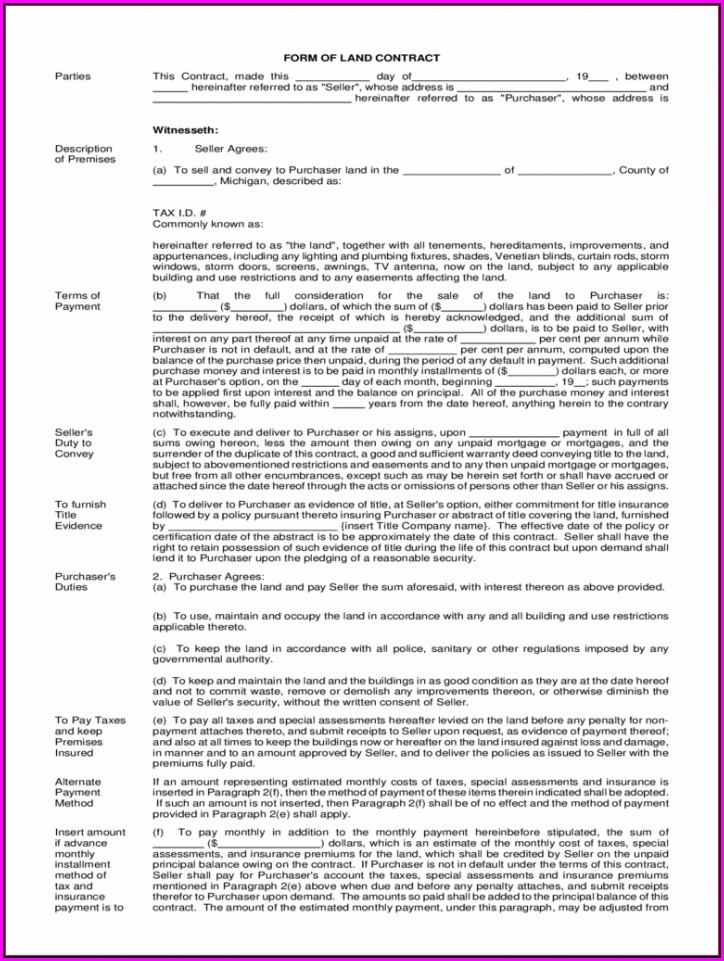 Land Contract Forms Michigan Free