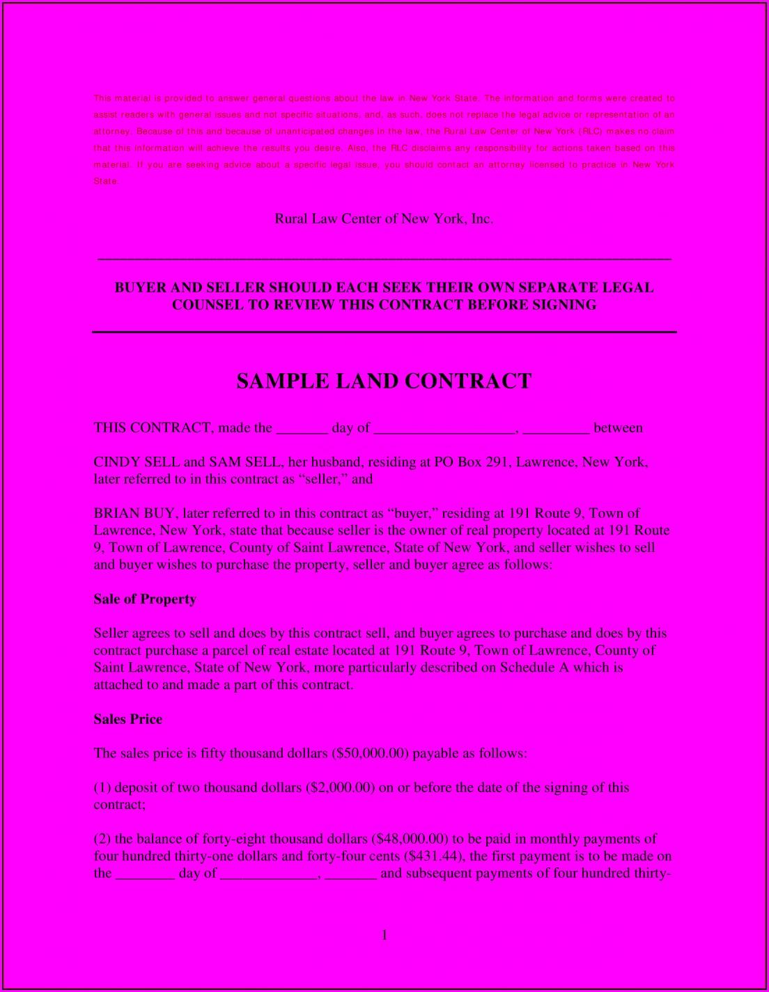 Land Contract Sample Michigan