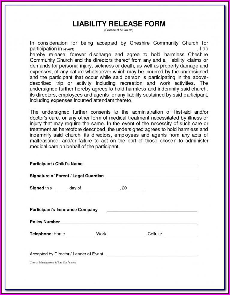 Landlord Trampoline Waiver Form
