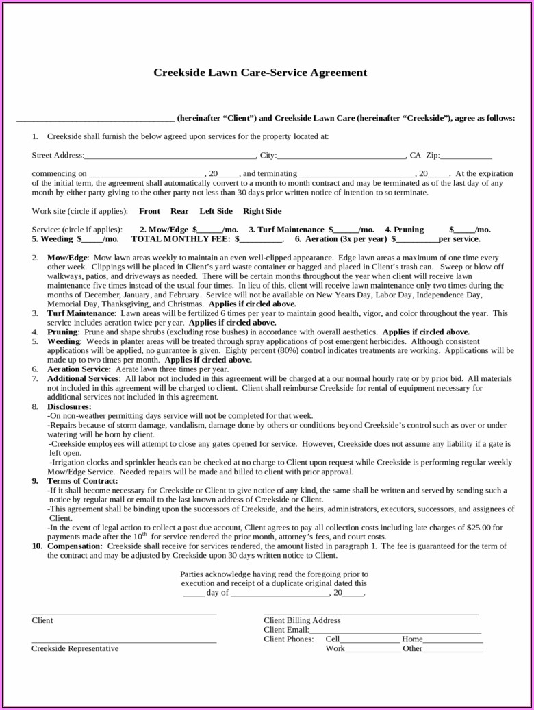 Lawn Care Service Contract Template