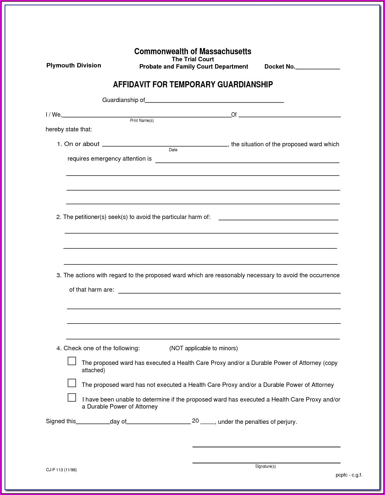 Legal Guardianship Forms Pa