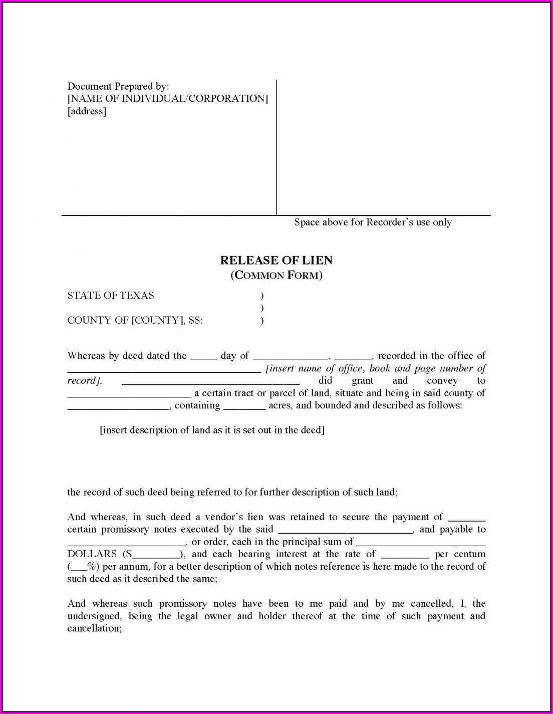 Lien Release Form Texas Title Form Resume Examples