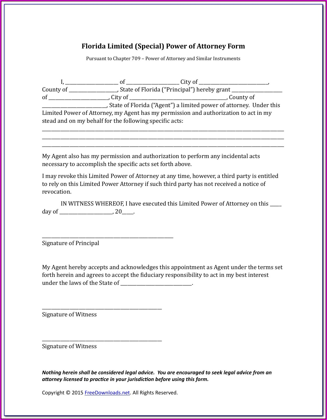Limited Power Of Attorney Form Florida Pdf