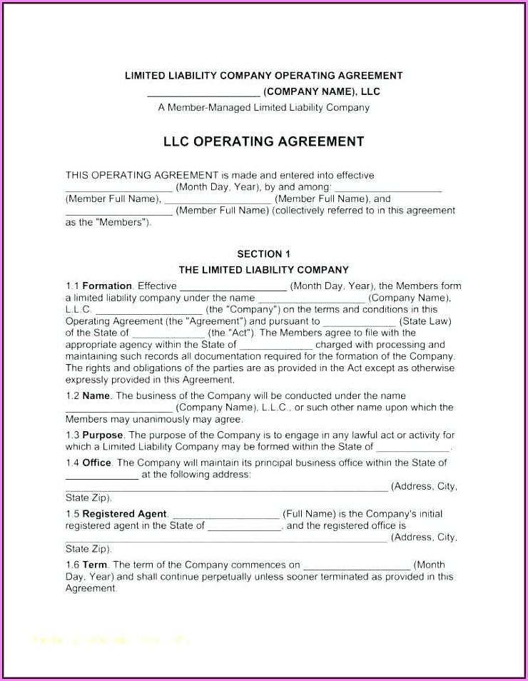 Llc Bylaws Template Free