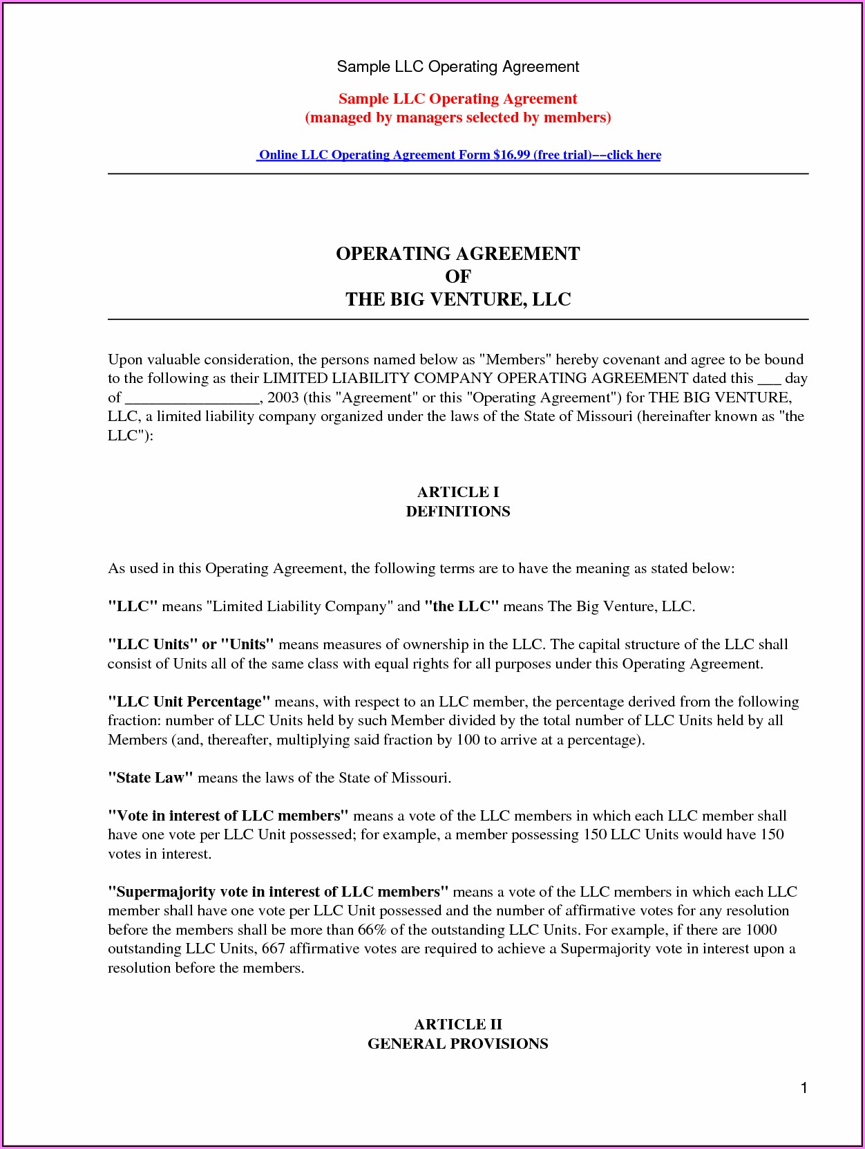 Llc Partnership Operating Agreement Template