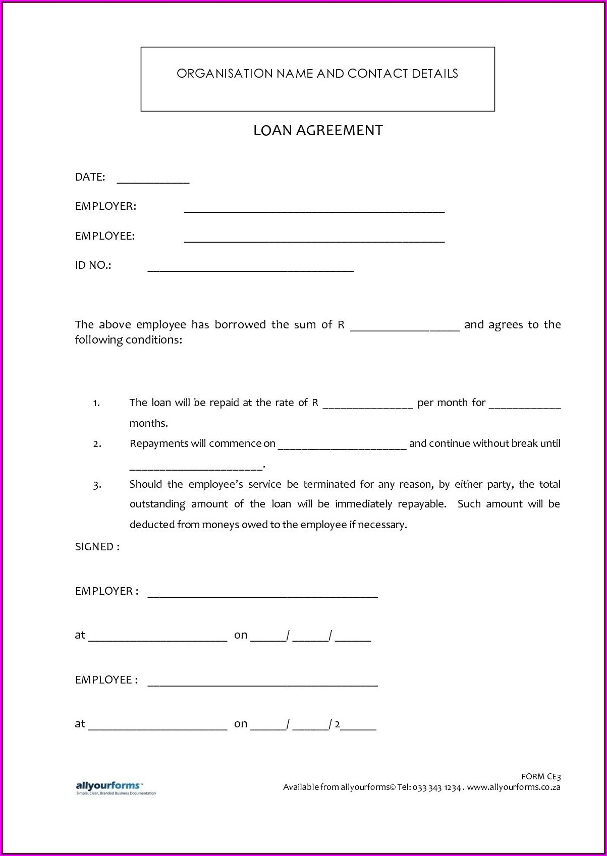 Loan Agreement Sample In Word Format
