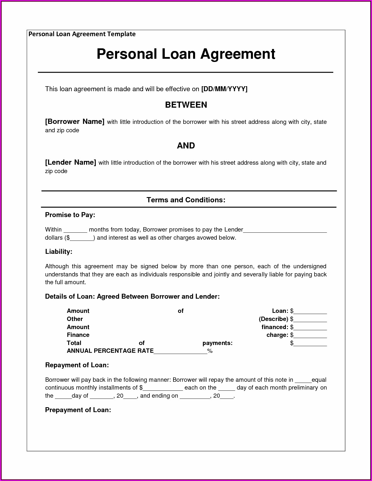 Loan Agreement Template Form