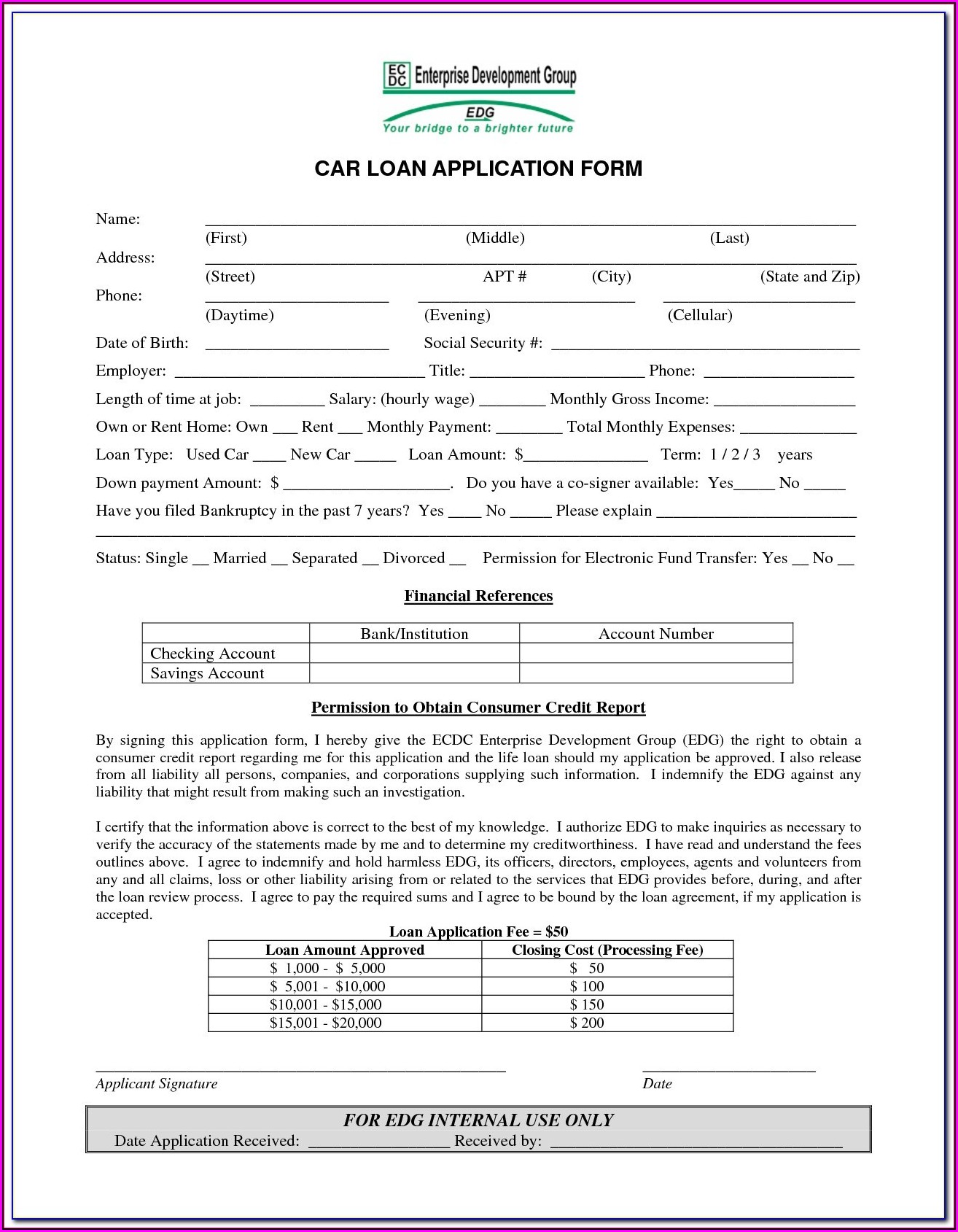Loaner Car Agreement Form