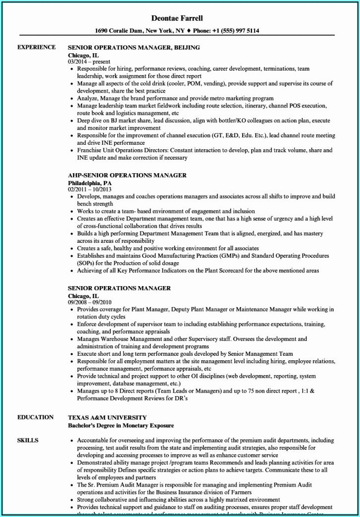 Manager Resume Template Word