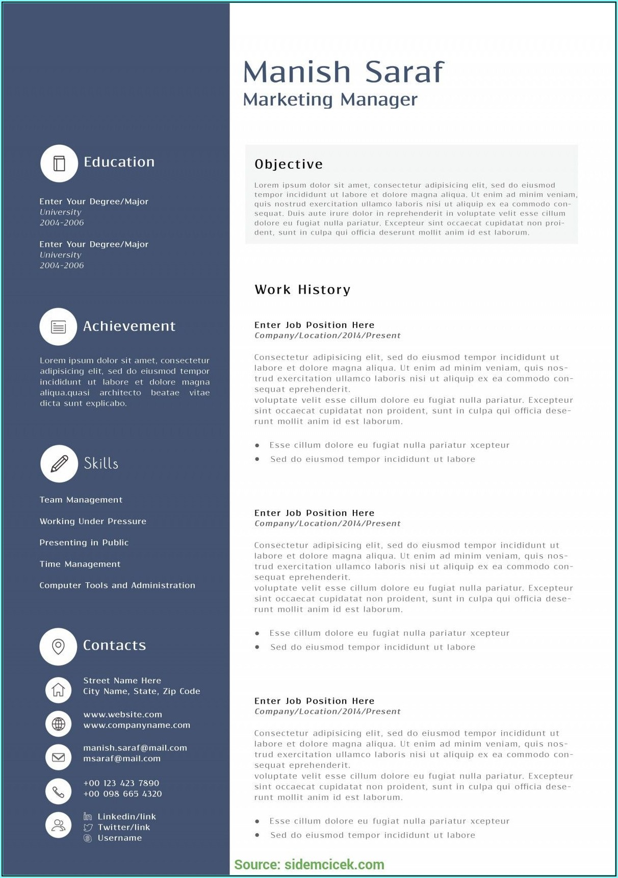 Marketing Resume Templates Free