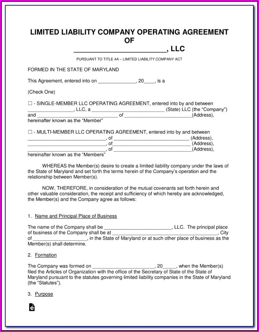 Maryland Llc Formation Forms