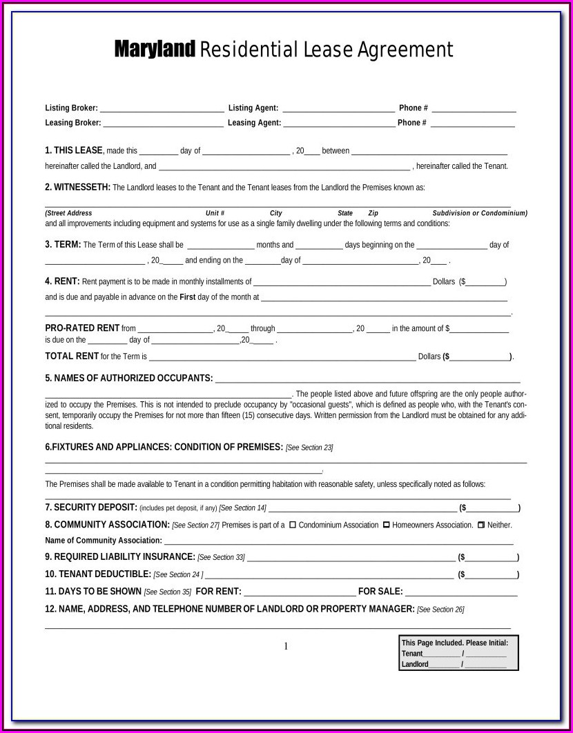 Maryland Rental Agreement Form