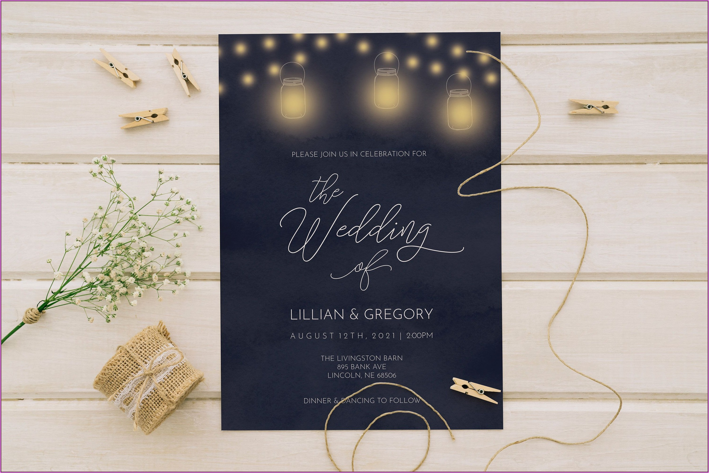 Mason Jar Wedding Invitation Template
