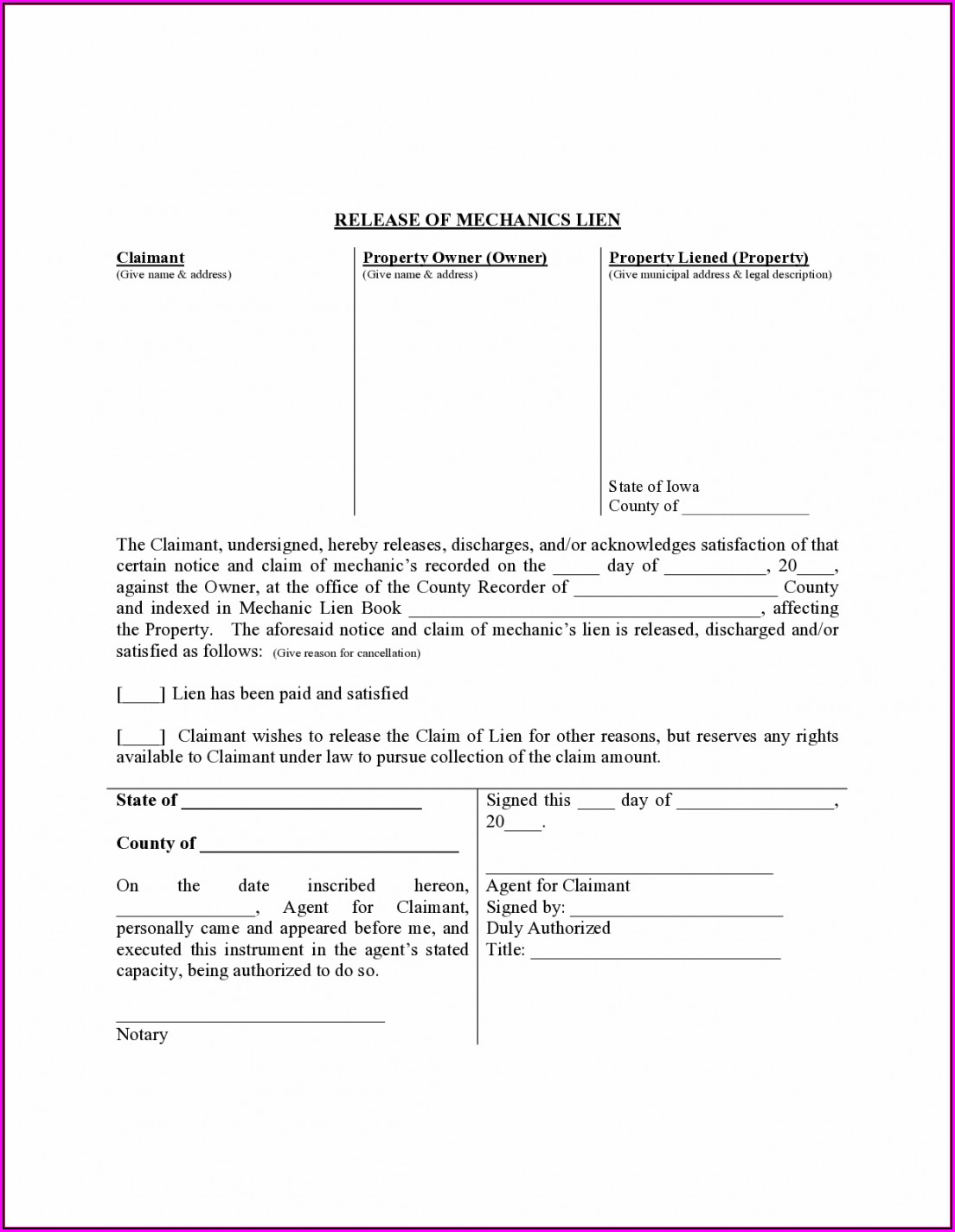 Mechanics Lien Release California Form