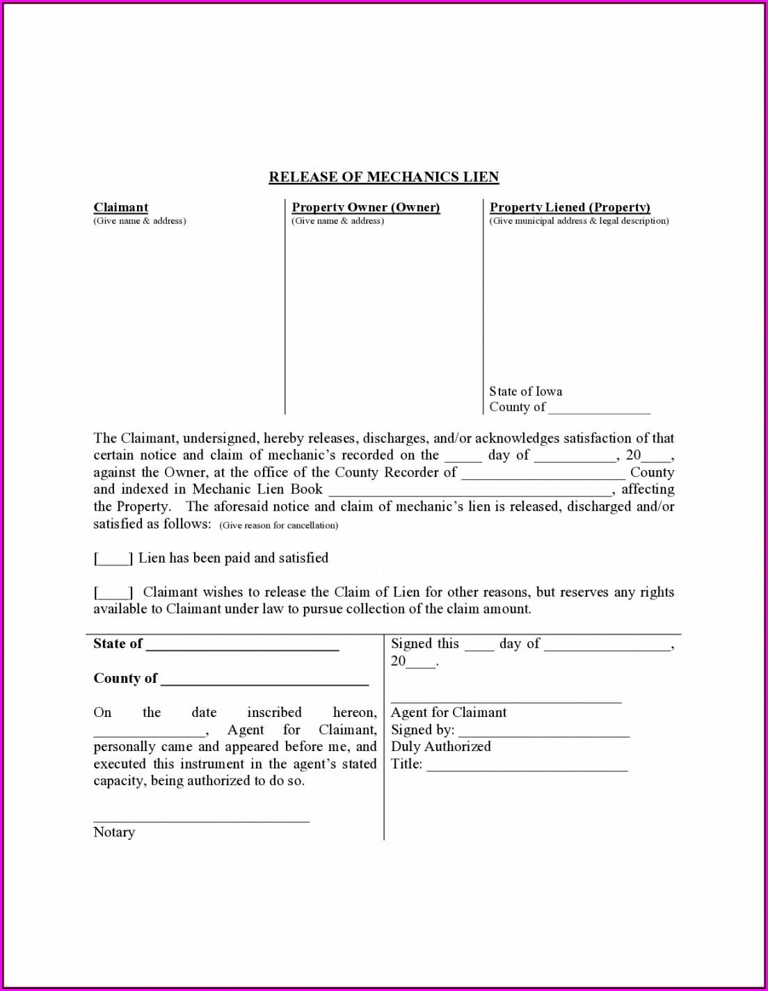 Mechanics Lien Release California Form