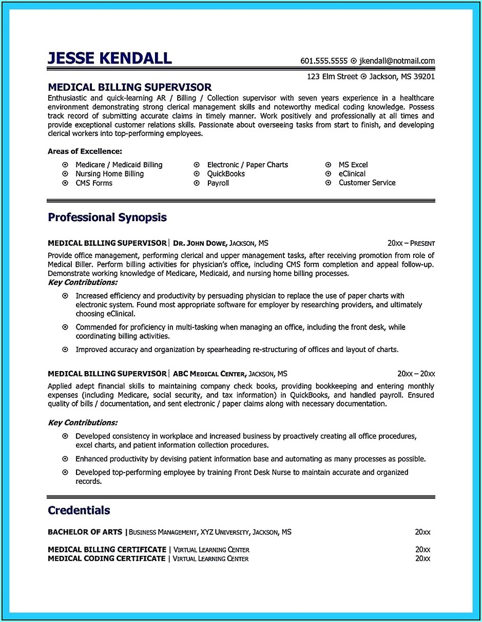 Medical Biller And Coder Resume Examples